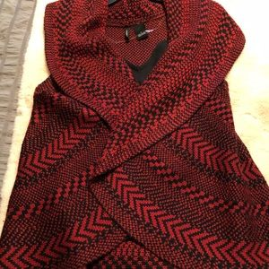 Crocheted wrap vest. Red & black Large